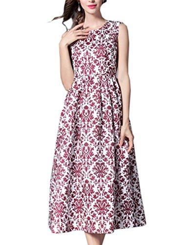 HJMTRY Vestido sin mangas de señora Dress Vest Big Swing impresión medio vestido largo picture color