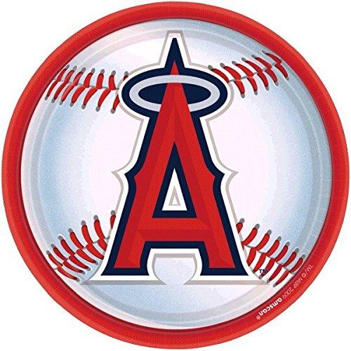 Amscan LA Angels Anaheim Round Dinner Plates, (Anaheim White Baseball)