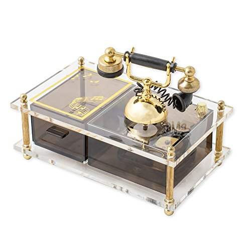 (Musical Revolving Telephone With Gold Accents Jewelry Box Plays I Just Called To Say I Love You)