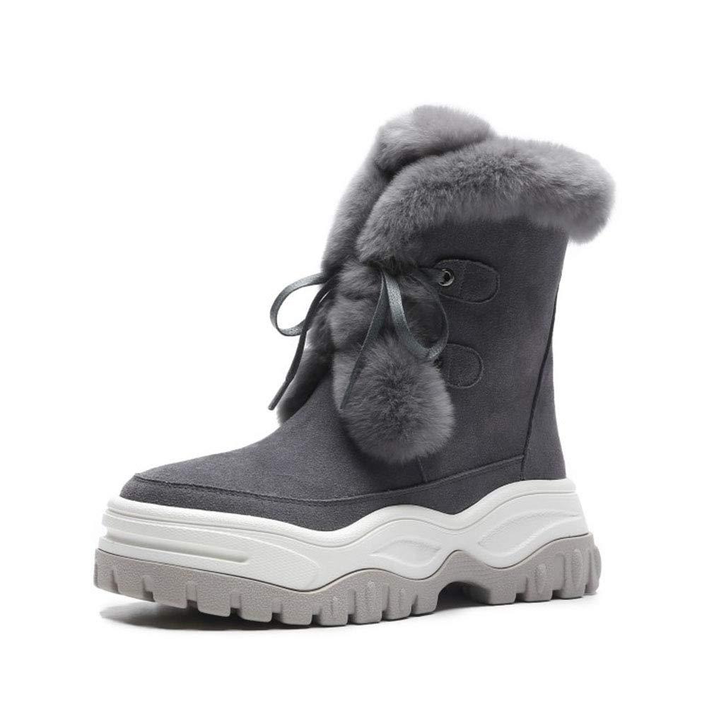 YAN Frauen Stiefel Winter Plattform Wildleder Schneeschuhe Damen Stiefel Leder Lace-up warme Baumwolle Schuhe Outdoor High-Top Freizeitschuhe