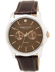 Kenneth Cole 10022313 Men's Genuine Diamond Silver Watch with Brown Croco Leather Strap