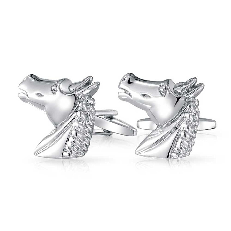 Bling Jewelry Rhodium Plated Mens Equestrian Animal Horse Cufflinks