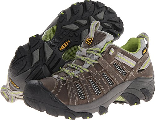 KEEN Women's Voyageur Hiking Shoe,Neutral Gray/Lime Green,10.5 M US by KEEN