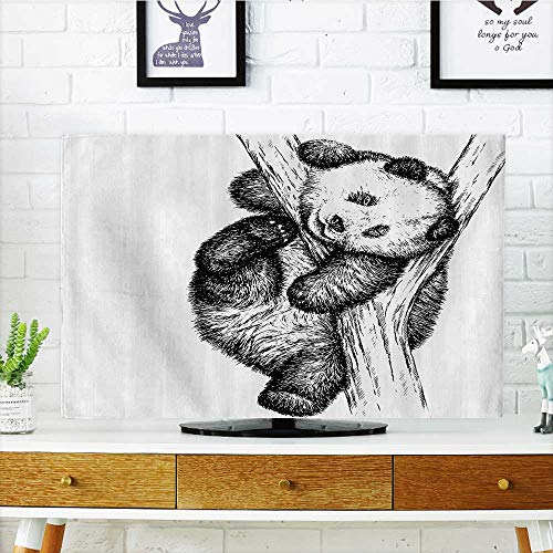 TV dust Cover Cute Little Panda ar Tree Branch Fury Tropical Jungle Zoo Sketchy TV dust Cover W30 x H50 INCH/TV 52