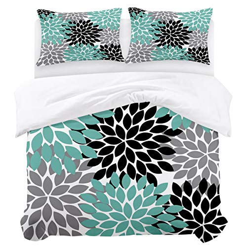 (3 Piece Bedding Sets, Quilt Cover Sets,Multicolor Dahlia Pinnata Flower Customized Teal,Black,Grey Twin(68