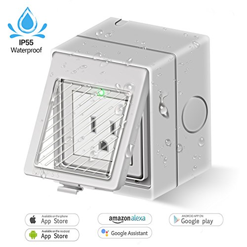 Outdoor Wi-Fi Smart Plug, Works with Amazon Alexa and Google Home No Hub Required, IP55 Weatherproof Smart Socket, Plug-In, On/Off and Timing/Timer Setting App Control by Smart Phone