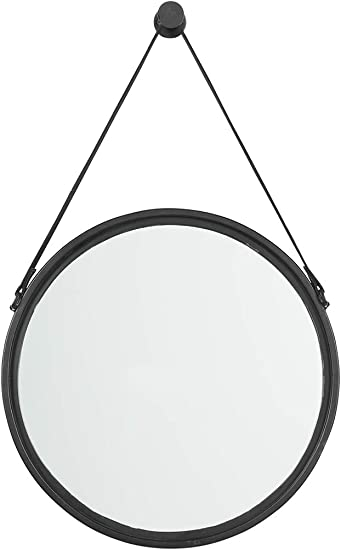 Signature Design by Ashley – Dusan Accent Mirror – Circular – Metal Frame – Black