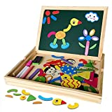 Irady Wooden Double Side Magnetic Drawing Writing Board Jigsaw Puzzle Educational Toys Game Toy Set for Boys Girls
