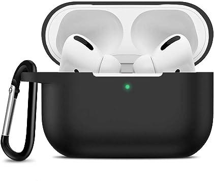 Oferta amazon: Migimi Case Compatible Airpods Pro Funda, Funda de Silicona para Estuche de Carga de AirPods Pro 2019 con LED Frontal Visible, Resistente a Golpes y Arañazos Cover para Airpods Pro 3, con Mosquetón