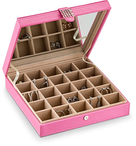 Designer Leather Earrings (Glenor Co Earring Holder - Classic 25 Section Jewelry Box / Case / Organizer for Earrings, Rings, Necklaces, Jewelry, Cufflinks or Collections. 25 Small Compartments with Elegant Large Mirror - Pink)