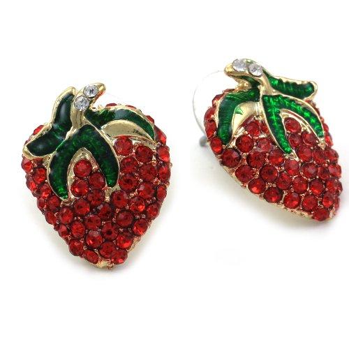 Strawberry Earrings Rhinestones Fashion Jewelry product image