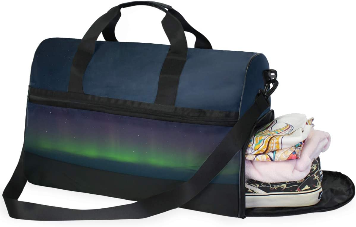 MUOOUM Northern Lights Aurora Large Duffle Bags Sports Gym Bag with Shoes Compartment for Men and Women