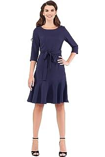 72d36ded39e Women s Elegant Modest 3 4 Sleeve Crewneck Belted Semi Formal Midi Work  Cocktail Dress