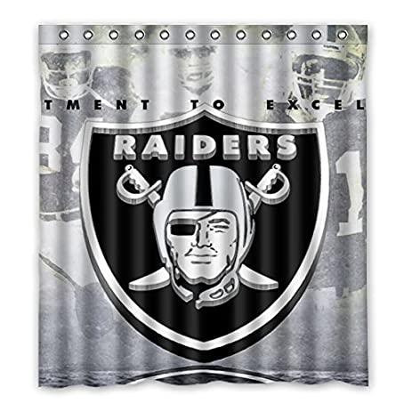 CrazyStone Oakland Raiders Waterproof Fabric Bathroom Shower Curtain 66quot