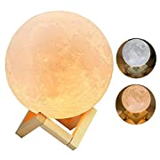 Rxlife Moon Lamp 3D Printing Moon Light Night Light Dimmable USB Rechargeable Touch Control, Warm White & Cool White Home Decorative Light With Wood Holder 7.3 inch