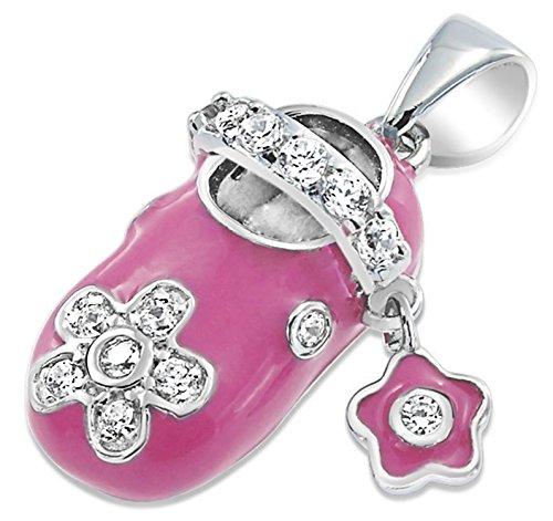 Rhodium Plated Pink Enamel CZ Mary Jane Baby Shoe Charm Pendant