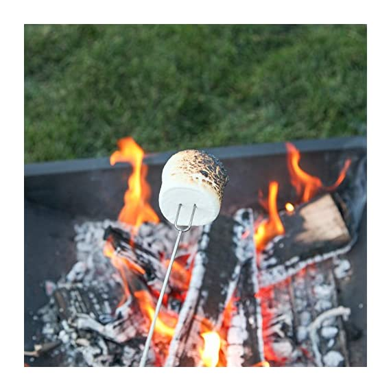 MalloMe Marshmallow Roasting Smores Sticks - Camping Accessories for Campfire Fire Pit Cooking - Set (Set of 8) 8 🏕️ ONLY MalloMe WILL LAST! BEWARE OF CHEAP KNOCK OFFS! Highest quality FDA APPROVED power welded forks use Non-Toxic 18/8 304 STAINLESS STEEL to ensure no rusting & safe roasting. PERFECT ROAST: Two prongs to prevent marshmallow from spinning on stick when melting. EASY CLEANING & STORAGE: Retracting fork design and heat-resistant canvas pouch are convenient for long camping trips or storing at home 🏕️BEST MONEY EVER SPENT: The MalloMe Marshmallow Roasting Sticks Bundle includes 8 Piece Telescoping Fork Set + Canvas Travel Bag Pouch + 10 Bamboo Skewers + Perfect Marshmallow Roasting and Smores Making Guide with 10 recipes Ebook 🏕️PERFECT GIFT for FAMILY and FRIENDS: Best Marshmallow Roasting Sticks for anyone looking for a high quality, great value product to enjoy at the cookout with the people you love.