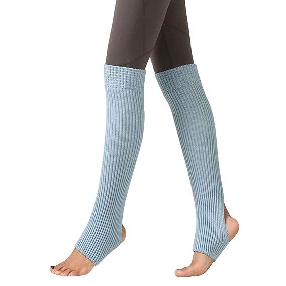 Calcetines de Piernas Tejidos,STRIR Botas Botines Calentadores de Punto Invierno para Mujeres (Azul