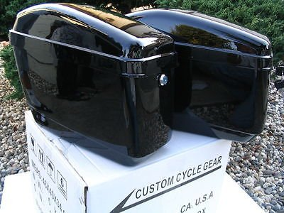 New Hard Saddle bags Saddlebags w/ mounting kits Fit Honda Shadow Kawasaki Vulcan VN Black - Motorcycle Hard Saddlebags