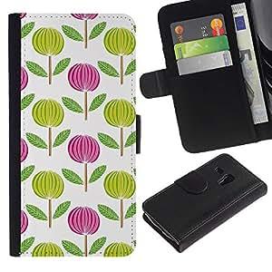iKiki Tech / Cartera Funda Carcasa - Pink White Green Wallpaper - Samsung Galaxy S3 MINI NOT REGULAR! I8190 I8190N