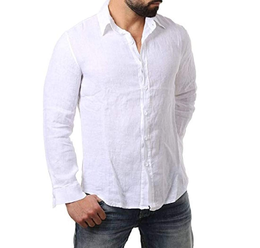 HEFASDM Mens Comfort Button Down Cotton Linen Long Sleeve Woven Shirt
