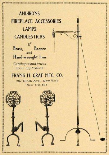 1921 Ad Frank H Graf Mfg. Co. Andirons Lamps Decor - Original Print Ad (Iron Andirons)