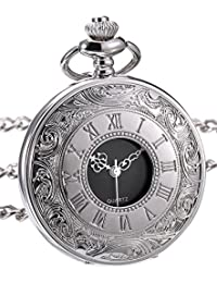 Classic Quartz Pocket Watch with Roman Numerals Scale and Chain Belt