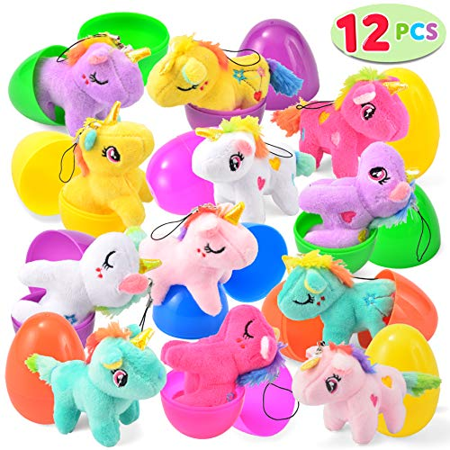 """(12 PCs Filled Easter Eggs with Plush Unicorn, 2.25"""" Bright Colorful Easter Eggs Prefilled with Variety Plush)"""