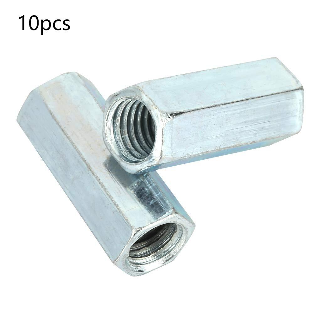 10 piezas de tuercas largas galvanizadas de acero tuercas hexagonales roscas de rosca espaciadores fijaciones