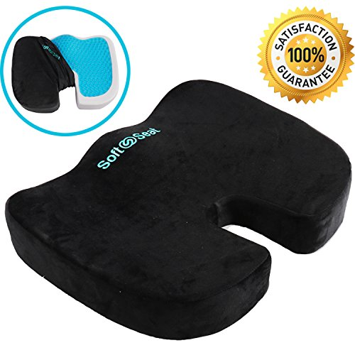 Seat Cushion for Orthopedic Back Support, Coccyx Tailbone Pain and Sciatica Relief, Black