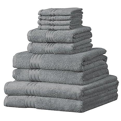 Linens Limited - Supreme - Juego de 10 toallas - 100 % algodón egipcio - Plateado: Amazon.es: Hogar