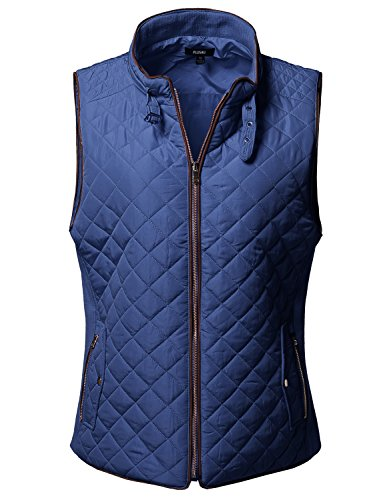 Plus4u Plus Size Solid Quilted Padding Vest with Suede Piping Details Sea Blue Size 1XL