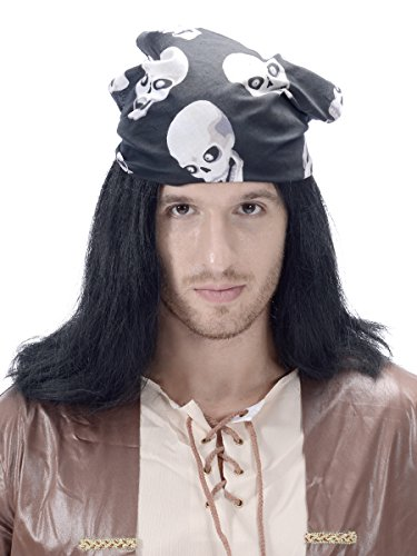 Long Straight Pirate Wig for Men - Black Color Synthetic Costume Halloween Cosplay Party Wig with Scarf One Size -