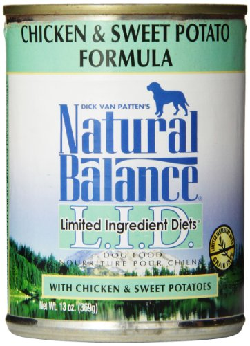Natural Balance L.I.D. Limited Ingredient Diets Canned Wet Dog Food, Grain Free, Chicken and Sweet Potato Formula, 13-Ounce (Pack of (Dog Boutique Online)