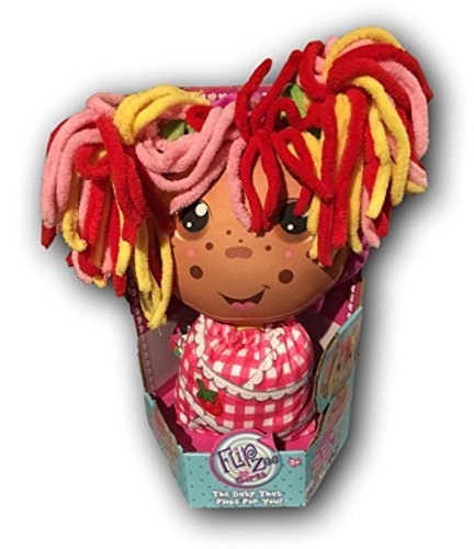 Flip Zee Girls (Brown, Ethnic African American Zana Very Berry Strawberry) 2-in-1 Plush Doll by Jay at Play – Perfect Holiday Gift – Soft & Squeezable Toy ()