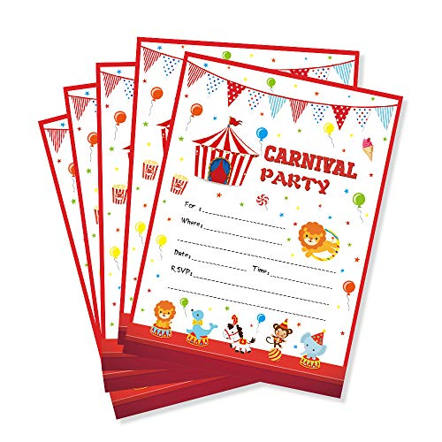 (CC HOME Carnival Circus Party Invitations with Envelopes (20 Count),Circus Carnival Birthday Party Decorations,Carnival Fill in Invites for Kids ,1St Birthday ,Baby Shower ,1st Birthday Party Decorations)