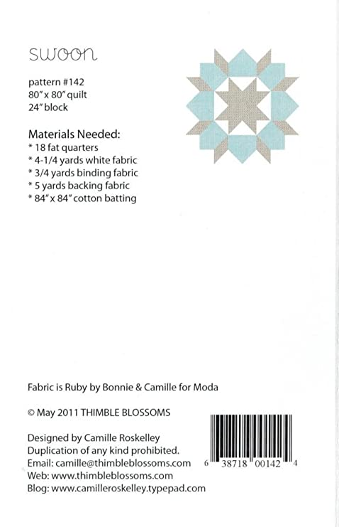 Swoon Quilt Pattern Fat Quarter Friendly 24 Inch Blocks 80 Inch