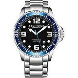 Stuhrling Original Mens Swiss Quartz Stainless Steel Sport Analog Dive Watch, Water Resistant 200 Meters, Blue Bezel Black Dial, Screw Down Crown, Aqua-Diver 44mm 395XL Mens Watches Collection