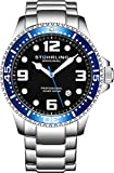 Stuhrling Original Mens Swiss Quartz Stainless Steel Sport Analog Dive Watch, Water Resistant 200 Meters, Blue Bezel Black Dial, Screw Down Crown, Aqua-Diver 44mm 395XL Mens Watches Collection
