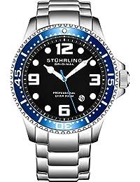 Stuhrling Original Reloj de buceo analógico de acero inoxidable de cuarzo suizo para hombre, resistente al agua 200 metros, esfera azul/negro, buceador acuático, Negro azulado