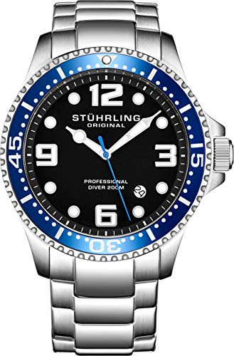 Stuhrling Original Mens Swiss Quartz Stainless Steel Sport Analog Dive Watch, Water Resistant 200 Meters, Blue Bezel Black Dial, Screw Down Crown, Aqua-Diver 44mm 395XL Mens Watches Collection (Swiss Diving Watch)