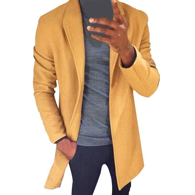♚ Abrigo de Viento para Hombre, Invierno Moda para Hombre Invierno Cálido Slim Fit Trench Coat Chaqueta de Manga Larga Outwear Top Absolute: Amazon.es: ...