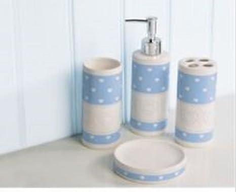 Bleu canard de salle de bain Set de 4 Pièces Porcelaine ...