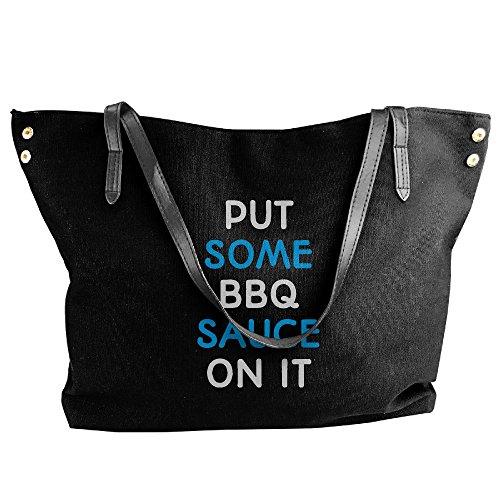 Women's Shoulder It Put Large Canvas On Tote Handbag Black Some Sauce BBQ Messenger Bags qtxqHrn