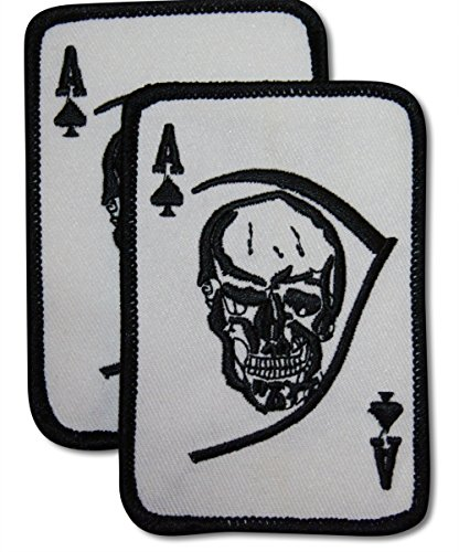 2 Piece Ace of Spades Sew or Iron On Patch Set by Novel Merk