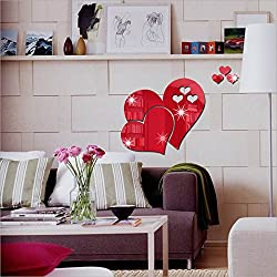 Naladoo 3D Mirror Love Hearts Wall Sticker Decal DIY Home Room Art Mural Decor Removable Room Decal