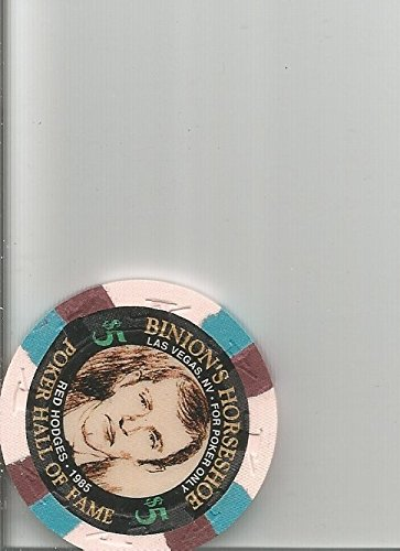 $5 binions horseshoe red hodges poker oversized orange las vegas casino chip rare