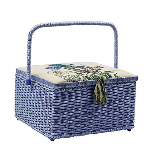 D&D Extra Large Sewing Basket with Accessories, 12.5 x 12.5 x 7.5 inches