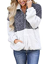 Women's Long Sleeve Contrast Color Zipper Sherpa Pile Pullover Tops Fleece with Pocket