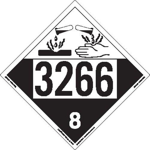 Tagboard Pack of 25 Labelmaster ZT4-3266 UN 3266 Corrosive Hazmat Placard